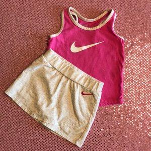 Nike Baby Girl Pink Skort Shorts Tank outfit Set
